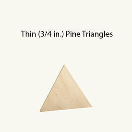 """Picture of 1.5"""" thick by 3.5"""" tall pine triangle"""