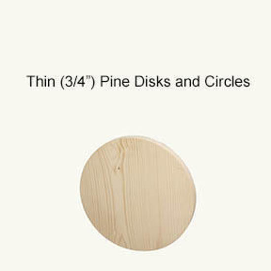 """Picture of Thin (3/4"""") Pine Circles, disks, rounds: 4.5 in."""